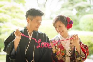 長崎の結婚式 和装を着た新郎新婦